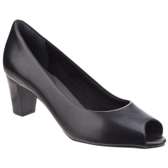 AUDRINA Ladies Leather Peep Toe Heels Black