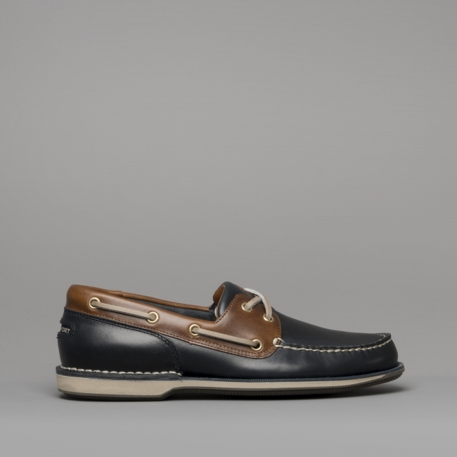 5f09e6c72d Rockport PERTH Mens Leather Boat Shoes Navy Dark Tan