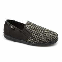 ROCKWELL Mens Slip On Wide Slippers Brown