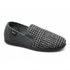 ROCKWELL Mens Slip On Wide Slippers Grey