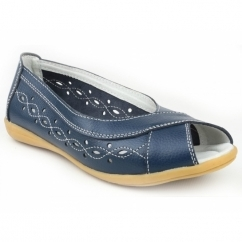 ROCOCO Ladies Leather Peep Toe Flat Shoes Navy