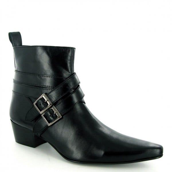 gucinari mens cuban heel winklepicker boots black buy at
