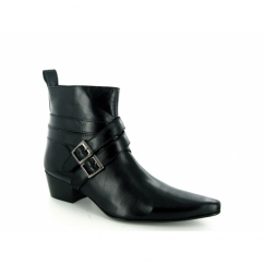 RODRIGO Mens Cuban Heel Winklepicker Buckle Boots Black