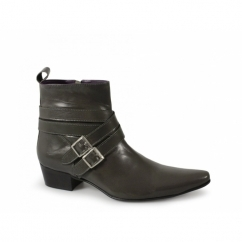 RODRIGO Mens Cuban Heel Winklepicker Buckle Boots Grey