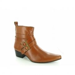 RODRIGO Mens Cuban Heel Winklepicker Buckle Boots Tan