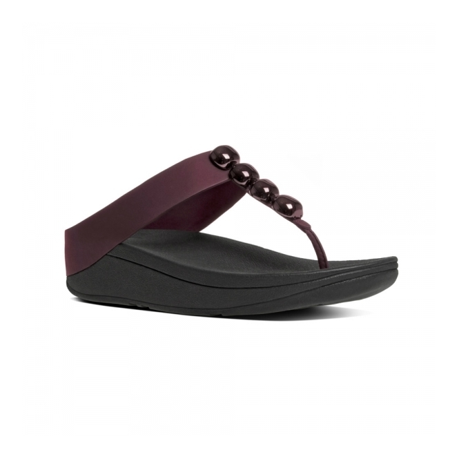 FitFlop™ ROLA™ Ladies Toe Post Jewel Sandals Hot Cherry