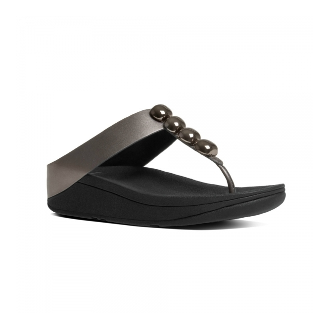 FitFlop™ ROLA™ Ladies Toe Post Jewel Sandals Pewter
