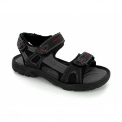 ROLAND Mens Faux Suede Triple Velcro Sports Sandals Black