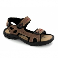 ROLAND Mens Faux Suede Triple Velcro Sports Sandals Brown
