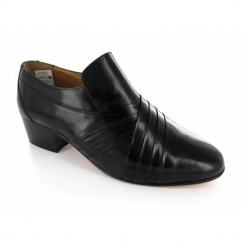 Romah Wallace CARNABY Mens Pleated Leather Cuban Heel Shoes Black