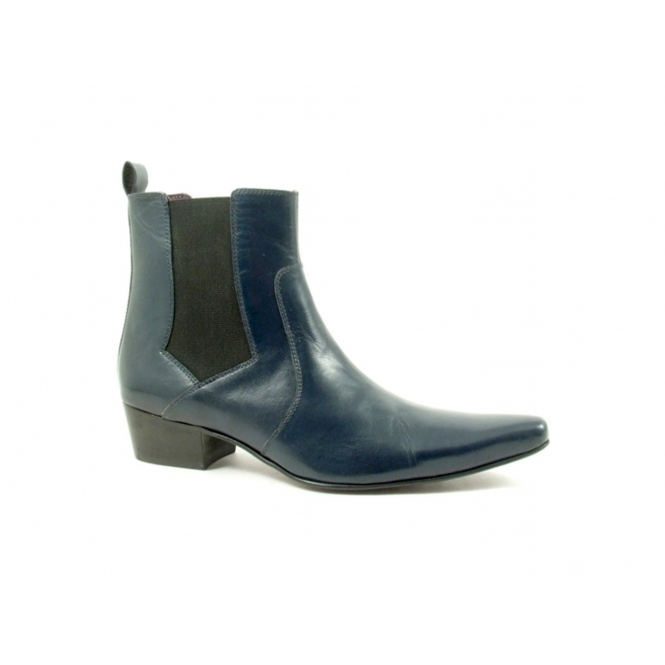 Gucinari ROMEO Mens Winklepicker Leather Chelsea Boots Navy