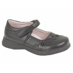 ROSA Girls Velcro Bar Floral Hearts School Shoes Black