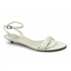 ROSALIE Ladies Satin Diamante Low Heel Strappy Shoes Ivory