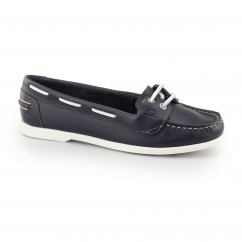 ROSANNA Ladies Leather Slip On Boat Shoes Navy