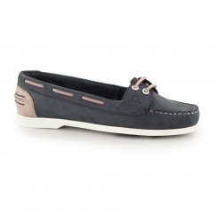Chatham ROSANNA Ladies Leather Slip On Boat Shoes Navy/Pink