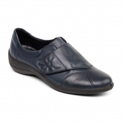 ROSE Ladies Leather Wide Touch Fasten Shoes Navy
