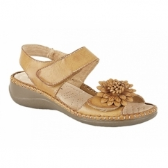 ROSELIN Ladies Floral Brooch Heeled Sandals Beige