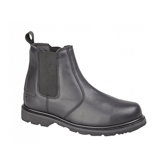 Grafters ROSS Mens Leather Gusset Oil Resistant Chelsea Boots Black