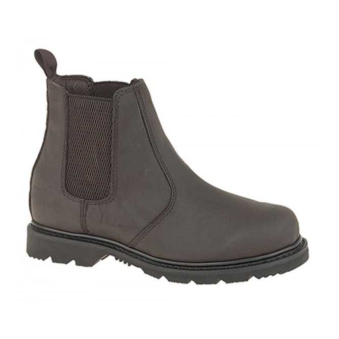Grafters ROSS Mens Leather Gusset Oil Resistant Chelsea Boots Dark Brown