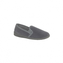 ROSS Mens Twin Gusset Full Slippers Grey