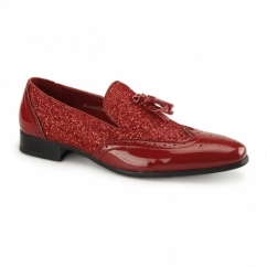 ANTONIO Mens Patent Tassle Loafer Brogues Red