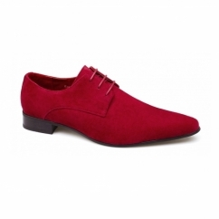 AZZURRA Mens Faux Suede Pointed Shoes Red