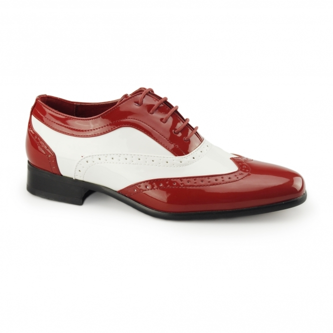 Rossellini BORSALINO Mens Brogue Patent Shoes Red/White