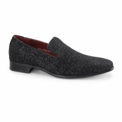 CARLO Mens Slip On Loafers Black Diamond