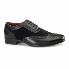 FABRIO Mens Faux Suede Brogue Shoes Black