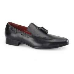 JERSEY Mens Faux Leather Loafer Shoes Black