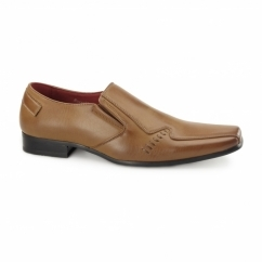 LEONARD Mens Faux Leather Loafers Brown