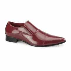LINO Mens Faux Patent Slip-On Shoes Red
