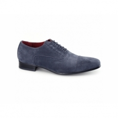 MARIO Mens Faux Suede Oxford Shoes Blue