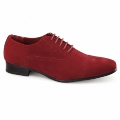 MARIO Mens Faux Suede Oxford Shoes Red