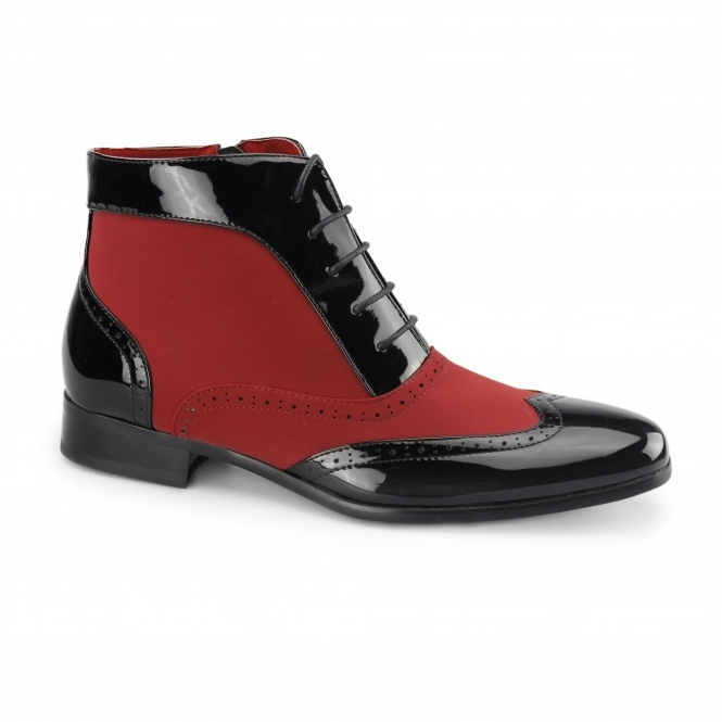 Rossellini MONTEZ Mens Patent Faux Leather Brogue Boots Black/Red
