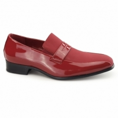 MONZESE Mens Patent Faux Leather Loafers Red