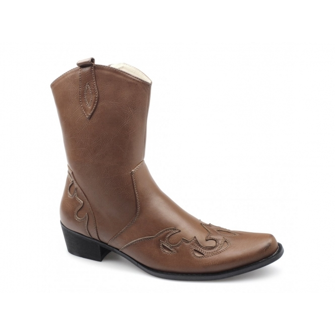 Rossellini PEDRO Mens Calf Length Cowboy Boots Brown