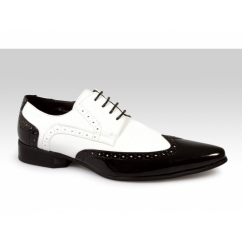 ROBERTO Mens Funky Pointed Patent Shoes Black And White