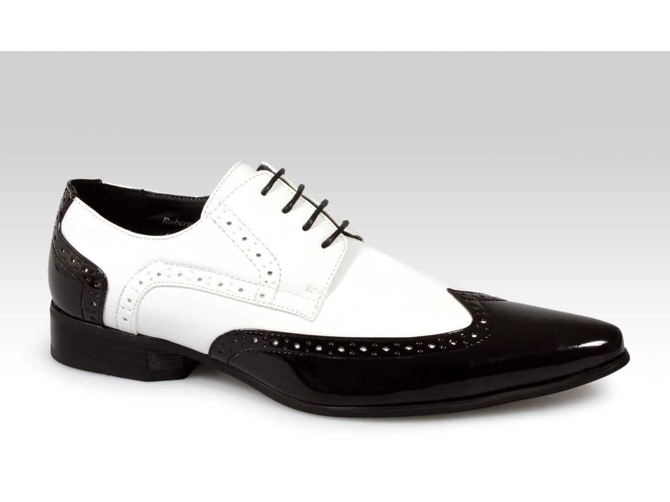 ff9159cbab9f Rossellini ROBERTO Mens Faux Patent Shoes Black White