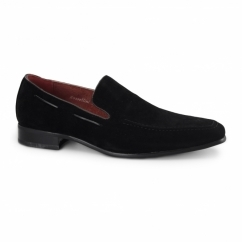 RUNU KR2 Mens Faux Suede Loafers Black