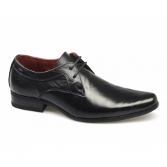 ROSSI II Boys Wrinkled Leather Lace Up Shoes Black