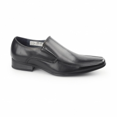 BRETT Mens Leather Lined Tramline Chisel Toe Shoes Black
