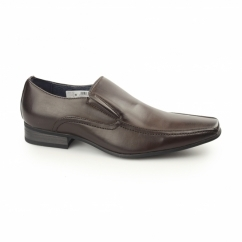 BRETT Mens Leather Lined Tramline Chisel Toe Shoes Brown