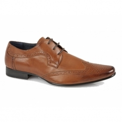 FREDRICK Mens Lace-Up Brogue Shoes Tan
