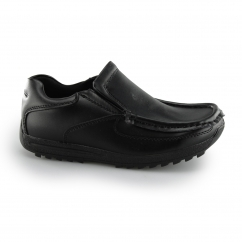 LELAND Boys Mens Action Leather Slip-On School Loafers Black
