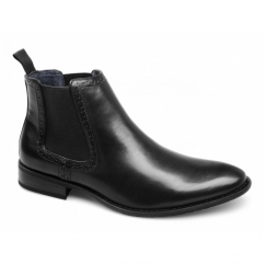 LIAM Mens Faux Leather Twin Gusset Chelsea Boots Black