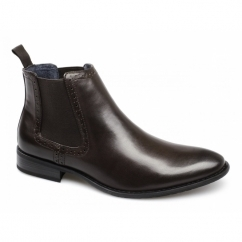 LIAM Mens Faux Leather Twin Gusset Chelsea Boots Brown