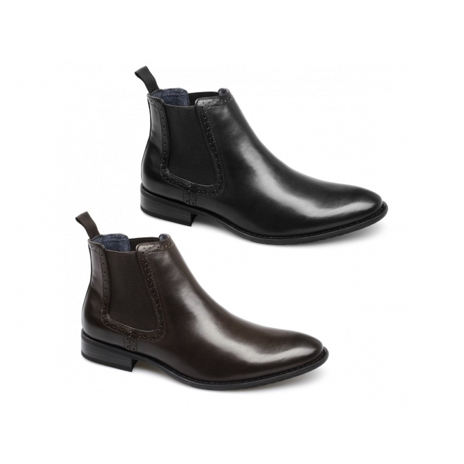 55940f73947 Route 21 LIAM Mens Faux Leather Twin Gusset Chelsea Boots Brown