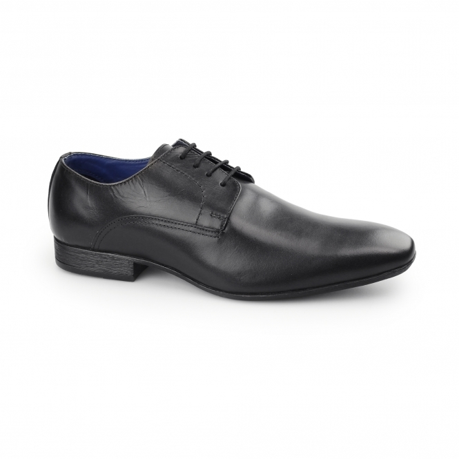 Route 21 QUINN Mens Leather Lace Up Derby Shoes Black