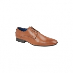 QUINN Mens Leather Lace Up Derby Shoes Tan